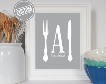 Custom Kitchen Print, Housewarming Gift, Family Art, Family Initial, Art for Kitchen, Kitchen Art, Kitchen Print, Kitchen Utensil Art