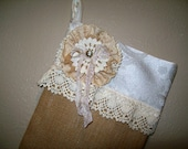 Shabby Chic Burlap Christmas Stocking, Shabby Chic Stocking, Shabby Flower Stocking, Burlap Stocking