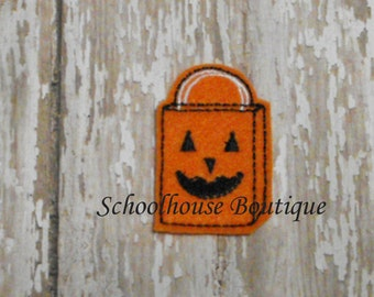 Pumpkin Trick or Treat Bag felties, feltie, Thanksgiving, Halloween, Fall Harvest,Machine embroidered,felt applique,felt embellishment