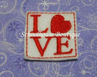 Valentine Love Stamp felties, feltie, machine embroidered, felt applique, hair bow center, felt embellishment, felt planner clip, badge reel