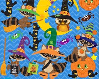 halloween clipart halloween raccoons clipart commercial use vector graphics digital clip art - Blue Magic Born On Halloween