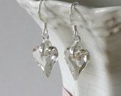 Swarovski Crystal Heart Earrings, Crystal Heart, Grey Crystal Earrings, Crystal Heart Earrings, Gray Earrings, Heart Earrings