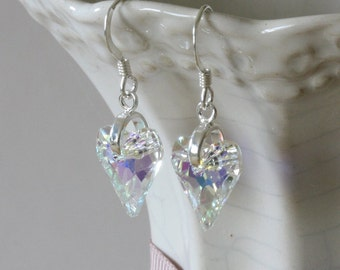 Swarovski Crystal Heart Earrings, Crystal Heart, Swarovski Crystal Earrings, Crystal Heart Earrings, Heart Earrings, Swarovski Hearts