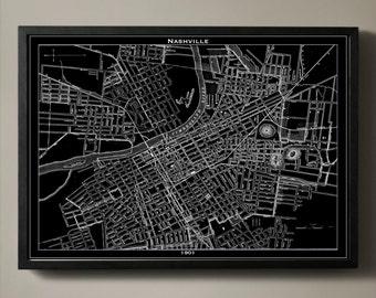 Nashville City Map - Nashville City Poster - Nashville Print - Nashville Map - Nashville Map Print - Nashville Poster - Map of Nashville