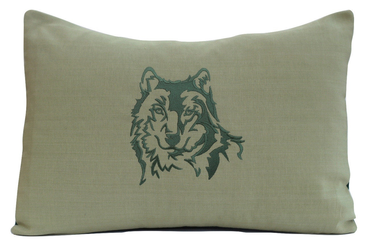 Embroidered wolf pillow animal wildlife