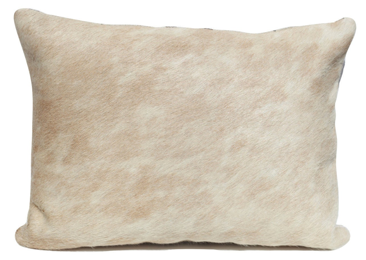Cowhide Pillow Ivory Palomino Leather Hide Lumbar