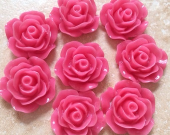 8 pcs 19 mm Hot Pink Cabochon Flowers,pink Rose cabochon,deep pink resin flower,hot pink rose,flower kit,resin flower,hot pink rose flower