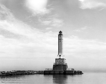 Huron Lighthouse at Lake Erie Ohio 1936 Historical 8x10 Photo Reproduction