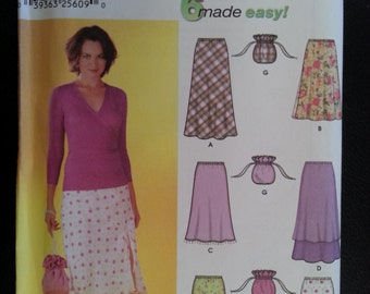 Simplicity 7090 Misses Pull On Bias Skirts with Length Variations and Purse sewing pattern Choose Your Size