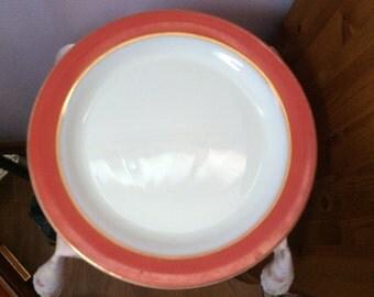 Vintage Pyrex Pink Rimmed White Milk Glass Platter/Round Serving Plate