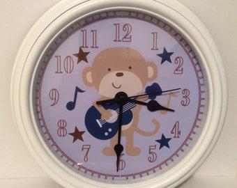Rockstar Guitar Monkey Wall Clock Nursery Bedding  Decor Room Music