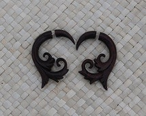 Fake Gauge Wooden Earring - Sono Wood - Spiral Fake Gauge Earring