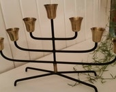 Danish midcentury designs. Scandinavian Candlestick in wrought iron and brass. Modernist.