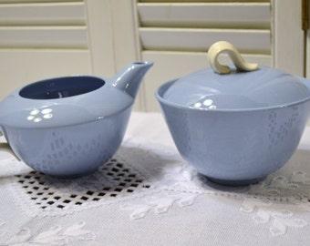 Vintage Skytone Homer Laughlin Creamer and Sugar Bowl Blue White Mid Century Panchosporch