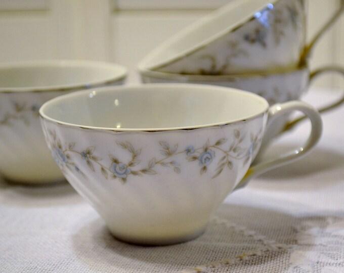 Vintage Camelot 3560 Teacup Set of 5 White Blue Rose Silver Japan Replacement  PanchosPorch
