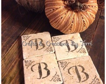 Initial Coasters - Tumbled Travertine Coasters - Monogram Coasters- Gifts - Customizable - Wedding - Housewarming - Made To Order