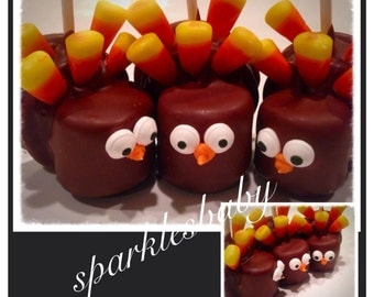 Turkey Pops,Thanksgiving Turkey Marshmallow and Oreo Pops - Set of 12 Chocolate Turkey lollipops