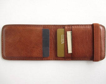 Leather credit card holder, minimalist wallet, thin wallet, with elastic band in cognac