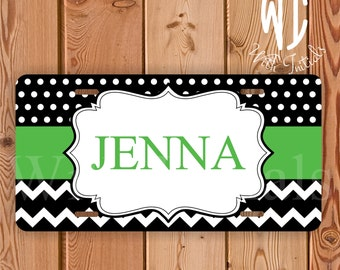 Chevron and Polka Dots license plate personalized  car tag with apple green stripe