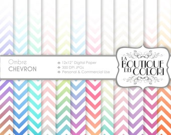 Ombre chevron digital paper. Gradient digital papers: Ombre background scrapbooking, printables, Commercial Use. pink, blue green.