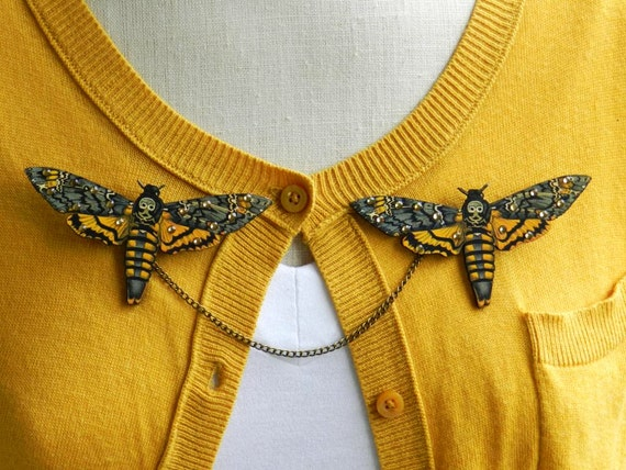 Death's Head Moth Sweater Guard Brooch