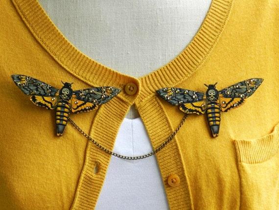 Death's Head Moth Sweater Guard Brooch
