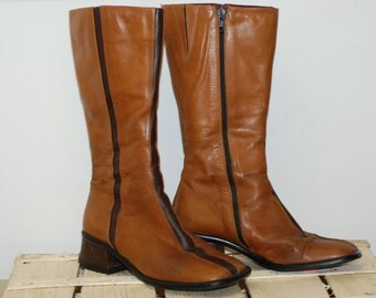 Vintage Italian leather boots Camel brown genuine leather boots Ladies boots Womens boots Size 6 US