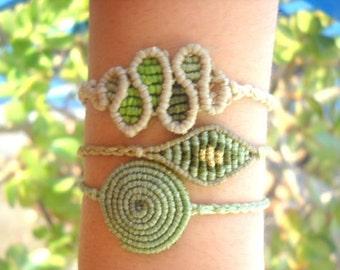 Green macrame bracelet set of 3