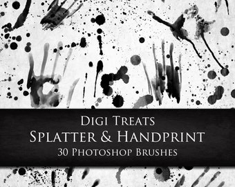 20% OFF Splatter & Hand prints Photoshop Brushes, 30 Photoshop brushes, INSTANT DOWNLOAD.