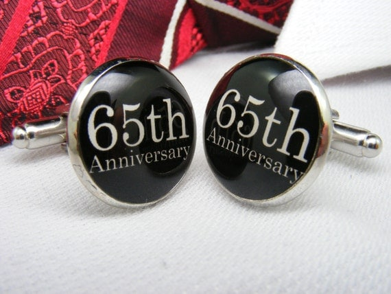 65th Wedding Anniversary Gift For Parents : 65th Anniversary - Cufflinks - Wedding Anniversary Gift- Custom ...