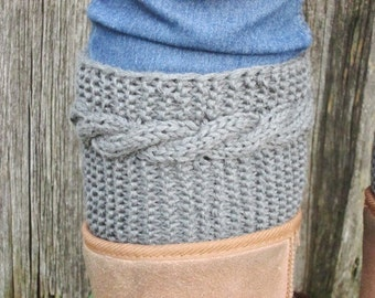 BLACK FRIDAY SALE! Ready to ship! gray Boot Cuffs merino wool boot cuffs Knitted Leg Warmers dark gray with Cable Winter accessory, Handmade