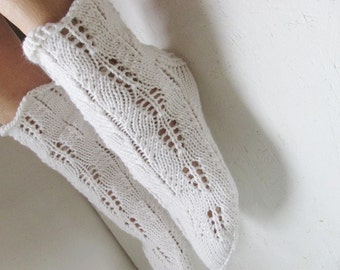 merino Wool white socks, Knitted Lace Socks, women socks winter socks handmade socks, Winter Accessories, Night Socks ,woman socks
