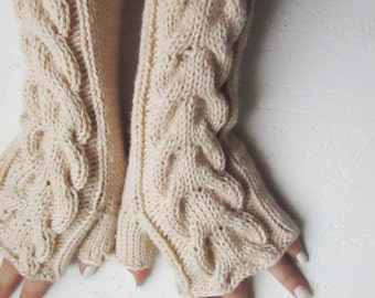 Fingerless gloves, merino wool Gloves Light brown, Arm Warmers, fingerless mittens,wrist warmers, Hand Warmers, Half Gloves with Cable