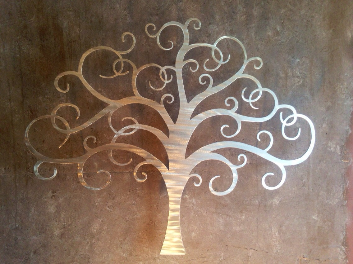Tree metal wall art silver wall decor tree art metal for Tree wall art