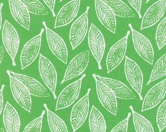 """32"""" REMNANT Horizon - Leaves in Green - Cotton Quilt Fabric - designed by Kate Spain for Moda Fabrics - 27192-11 (W2301)"""