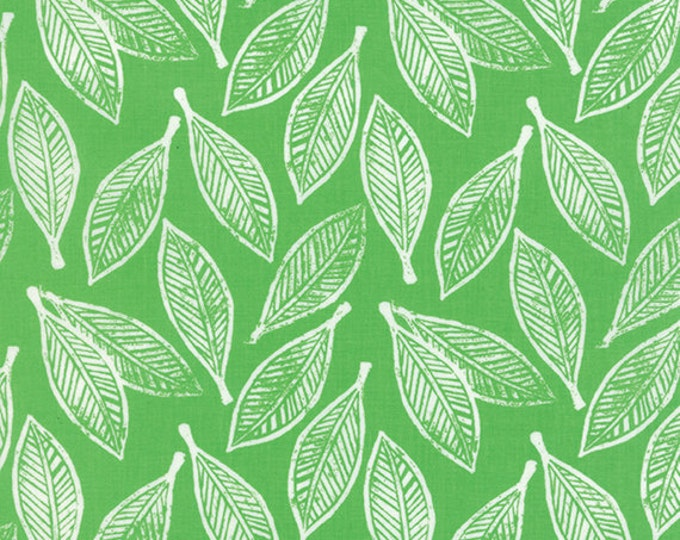 "32"" REMNANT Horizon - Leaves in Green - Cotton Quilt Fabric - designed by Kate Spain for Moda Fabrics - 27192-11 (W2301)"