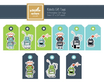 Robots Printable Gift Tags