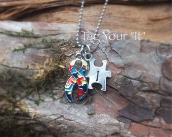 Autism awareness necklace - pewter
