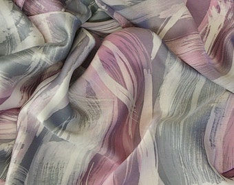 Hand Painted Silk Scarf - Abstract Dusty Pink, Gray and White Waves - Charmeuse Silk Scarf (approx.11x60 inches) by Laura Elderton