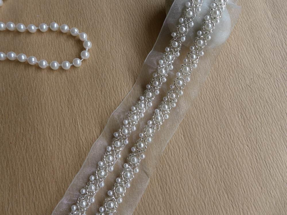 Ivory Beaded Trim Off White Ribbon Beaded Lace Wedding Belt