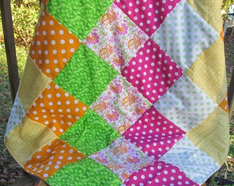 Sale - Handmade Patchwork Crib Quilt - Modern Crib Quilt  - Patchwork Quilt, Pink, Green, Yellow, Orange