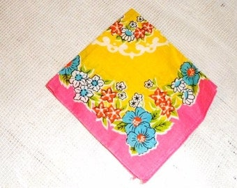 Retro Handkerchief- Vivid Flower Design- Floral- Detailed Design Fabric-Garden- Colorful Vintage Ladies Accessory- Pink-Yellow- Blue- Black