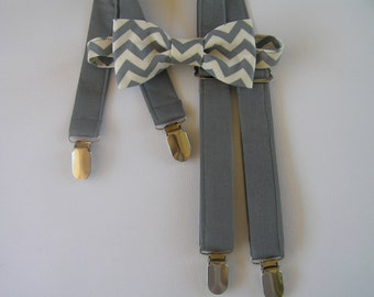 Braces and bowtie set - grey chevron, formal wear, cake smash,