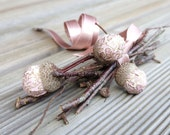 Handmade woodland home decor, fabric acorns, pastel pink forest natural poetic decor. Acorns and branch wood