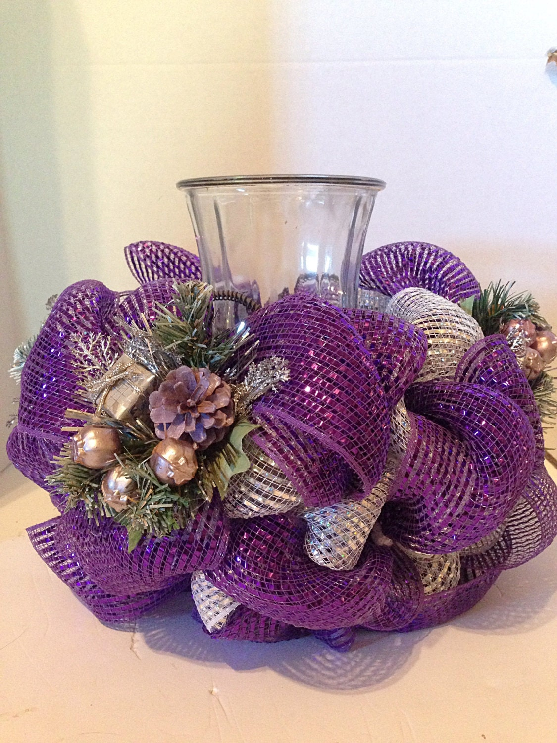 Christmas centerpiece deco mesh purple