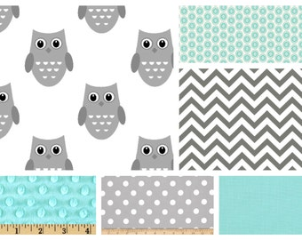 Custom Baby Boy Bedding - Sheet, Blanket & Skirt Crib Bedding in Grey Owls