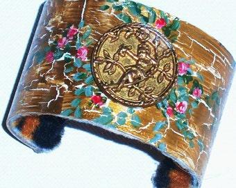 Romantic Gold Cuff Bracelet Hand Painted Vintage Style Cherub Jewelry