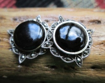 Black Onyx, Marcasite and Sterling Post Earrings