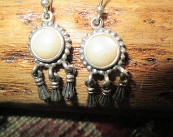 Mother of Pearl and Sterling Dangle Earrings