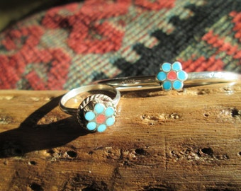 Petit Point Turquoise, Coral and Sterling Flower Cuff Bracelet